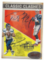 TOM BRADY & RUSSELL WILSON NEW ENGLAND PATRIOTS & SEATTLE SEAHAWKS DOUBLE AUTOGRAPHED FOOTBALL CARD #32321A