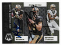 ALVIN KAMARA, DREW BREES & MICHAEL THOMAS NEW ORLEANS SAINTS TRIPLE AUTOGRAPHED FOOTBALL CARD #32421B
