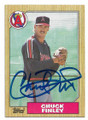 CHUCK FINLEY CALIFORNIA ANGELS AUTOGRAPHED VINTAGE ROOKIE BASEBALL CARD #40921A