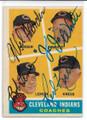 MEL HARDER, JO-JO WHITE, BOB LEMON & RED KREDD QUADRUPLE AUTOGRAPHED VINTAGE BASEBALL CARD #50121A