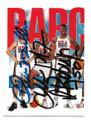 CHRIS MULLIN, CHARLES BARKLEY & DAVID ROBINSON TEAM USA TRIPLE AUTOGRAPHED OLYMPICS BASKETBALL CARD #50321F
