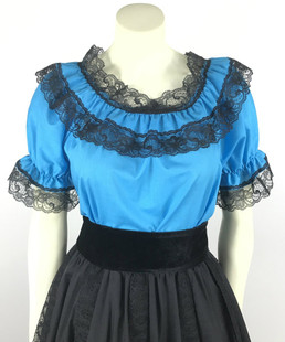 Lace Trim Ruffle Top - Turquoise/Black