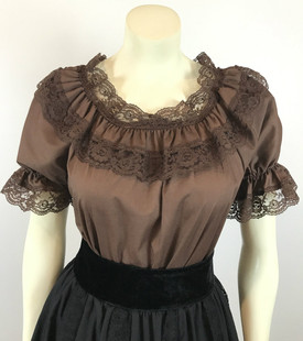 Lace Trim Ruffle Top - Brown