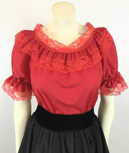 Lace Trim Ruffle Top - Red