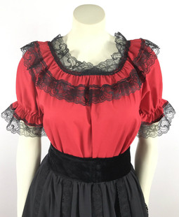 Lace Trim Ruffle Top - Red/Black