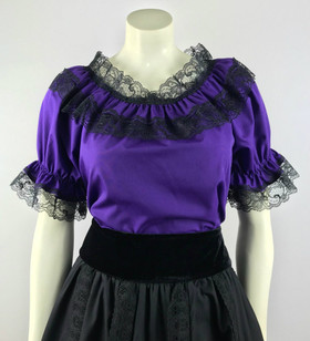 Lace Trim Ruffle Top - Purple/Black