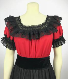 Fiesta Blouse - Red/Black