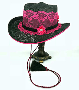 Lace Shooter Hat- Raspberry