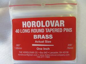 """Horolovar Brass Taper Pins .065"""" - .030"""""""