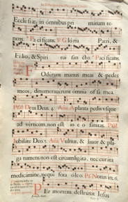M1248 A genuine leaf from a printed Antiphonal, a liturgical book containing music for the Divine Office, in Latin, on paper.  Paris, 1668.  Printed in red and black ink.  Four-line staves and rubrics in red.  Text is from the Feast of the Wounds of Christ.  Size:  17 x 10 3/4 inches.  Mat size: 20 x 16 inches.