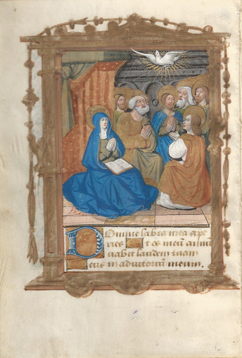 M4976 Pentecost,  Miniature in Gold Leaf, Liquid Gold, and Tempera on Vellum, Rouen, c. 1510.  A richly decorated miniature in a renaissance style in gold leaf, liquid gold, and tempera on vellum.  Text on recto in a lettre batarde script with a panel border.    A feast on the seventh Sunday after Easter commemorating the descent of the Holy Spirit on the apostles.  Size: 7 7/8 x 5 3/8 inches. Mat size: 8 x 10 inches.