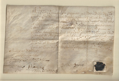 D5735 Obligation Bond between Peter Davis and John Ashby, written in Latin on obverse and English on reverse, Legal Charter on Vellum, England, 1690.  A very good, early example of an oligation bond with wax seal.  Size: 9 1/8 x 5 3/4 inches.  Mat size: 11 x 14 inches.