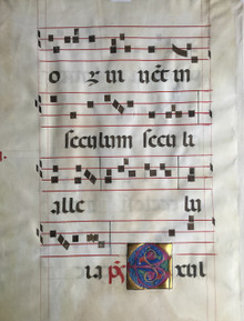 "M3271 Illuminated Initial ""E"", From a Gradual, Italy, Padua, ca. 1450   This is a genuine leaf from a Gradual, a liturgical book of texts and music of chants sung by the choir in response to the celebrant of the Mass.  It was written by hand in the 15th century. A single leaf from a Gradual, in Latin, on vellum.  Written in a massive gothic liturgical script in black ink.  Rubrics and four-line staves in red.  Illuminated initial ""E"" of foliate form in various colors of tempera on a ground of highly burnished gold.  Initial ""E"" opens Psalm 81, ""Exultate Deo…"" (sing aloud unto God our strength….)  From a series of lavishly illuminated manuscripts created for the monastery of St. Giustina of Padua. Size 22 1/2 x 16 inches."