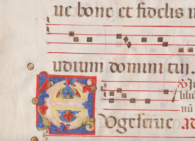 """M5887 Illuminated Initial """"E"""", Leaf from an Antiphonal, Italy c. 1450  This is a genuine leaf from an Antiphonal, a liturgical book containing music for the Divine Office.  It was written by hand in the 15th century.  Latin text and Gregorian notation in dark brown ink.  Rubrics and four-line staves in red.  brilliantly illuminated foliate initial """"E"""" in tempera and gold leaf on a ground of blue.  Initial """"E"""" opens Matthew 25:21, """"Euge serve bone…"""" (Well done thou good and faithful servant….)  Parable of the talents.  Size: 21 ½ x 15 ¼ inches."""
