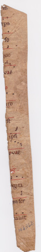 "M6362 Long strip from an early musical manuscript, Italy c. 1100  Long thin strip from an early choirbook, with openings of 14 lines set below music arranged around a single red clef line, red rubric and small initial, one fine Romanesque initial ""B"" formed of delicate red bands and with upper and lower compartments not touching a closest points.  270 x 28 mm."
