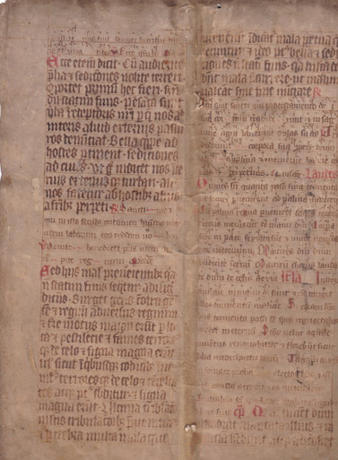 "M6452 Leaf from Noted Missal, in Latin, on parchment reused as archival register bindings for a church [Germany (perhaps Rhineland), c. 1350  Leaf with double column of 39 lines in two sizes of a Germanic gothic bookhand with pronounced angularity and lateral compression, text to be sung in smaller script with neumes in hufnagelschrift form, red rubrics and small initials, reused on a binding of an archival register for 1537, folds and darkened in places, overall fair, 345 by 243mm.; both with nineteenth- or early twentieth century pencil marks noting contents as  ""Kirchenstuhl.Register"""