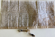 D6054 Document on Vellum with partial wax seal, Flemish, 4 October 1469  Acknowledgement by the mayor and échevins (scepenen) of Bertem, west of Leuven, re several plots of land, with much detail of adjacent property owners – including the 'roede cloester' – and streets – herstrate, poele strate, kerkstraten.  Dated: 4 October 1469. In Flemish.  Seal of the échevins, of which part remains.  Size: 13 x 6 5/8 inches plus tag with wax seal.