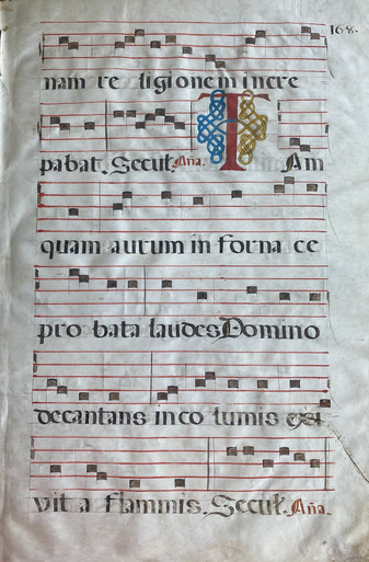 """M3025 Single Leaf from a Choir Book, Spain, c. 1580  A beautiful leaf, written by hand in a Gothic Script with five-line staves in red and Gregorian notation in black ink.  Text on recto is taken from the Wisdom of Solomon chapter 3.  """"Tamquam autum...."""" There is evidence of a sewn repair on the lower part of the leaf.  Size: 22 1/2 x 15 1/4 inches."""