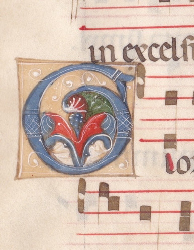"""M6554 Leaf from an early Gradual with a decorated initial, in Latin, decorated manuscript on parchment [Italy (Bologna, or perhaps Tuscany), c. 1300  Single large leaf, with an initial 'G' (opening """"Gloria laus et honor ..."""", a hymn sung on Palm Sunday), in blue heightened with hairline white strokes, enclosing coloured acanthus leaves in blue, green and magma-like red, all on pale fawn grounds and with white penwork tendrils, with 7 lines of text with music on a 4-line red stave (rastrum: 22mm.), capitals and significant letters touched in red, red rubrics, 9 simple red or blue initials with contrasting penwork, original folio no. """"CXII"""" in midpoint of outer margin of verso, seventeenth-century folio no. """"112"""" in same place on recto, small stains in places, tape marks and pinholes in blank corners from hanging, else fine condition, 442 by 308mm. From an early gradual with finely and delicately painted initials."""