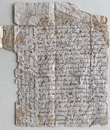 "D6424 3 Historical Documents on paper, written by hand, late 16th c.   (A) Letter from Ala (?) Fludd to ""Deare Cosen"": n.d."