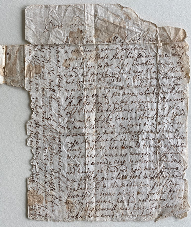"""D6424 3 Historical Documents on paper, written by hand, late 16thc.  (A) Letter from Ala (?) Fludd to """"Deare Cosen"""": n.d."""