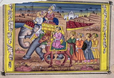 M7224 Elephant Procession, Miniature on Paper, Persia, c. 1600  An extremely vivid miniature of an elephant procession with a horseman along side. Several figures with spears and shields are pictured. All on a background of a castle, trees, and a river. In good condition with the exception of a tear in the upper left margin. Size: 6 1/2 x 4 5/8 inches.