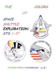 Five select coloring pages of the first 27 space shuttle mission insignia featuring an upper right corner color guide insignia.