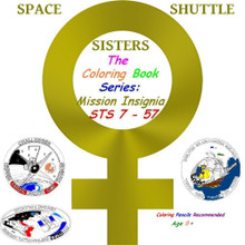 Five select  space shuttle mission insignia coloring pages of the first 27 flights of women astronauts, featuring an upper right corner color guide insignia.