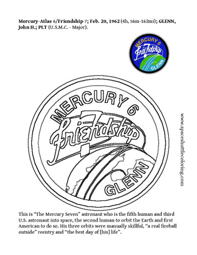 """This is America's """"First Man"""" to orbit Earth mission insignia coloring page. Place cursor over the large image and right click it. Left click  """"Save image as.."""" for free or add it to your shopping cart along with your purchase(s)."""