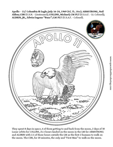 """FIRST MAN"" to walk on the moon mission insignia coloring book page. FREE!"