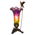 Hand Blown Mercury Glass Soaring Hummingbird Lily Lamp Purple/Green
