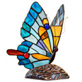 Tiffany Style Stained Glass Flying Butterfly Blue Accent Lamp