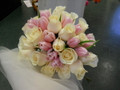 Pink Tulips, Cream Roses Bride Bouquet
