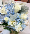 White Roses & Blue Hydranges