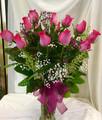 Dz. Pink Roses in Vase