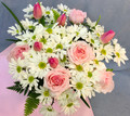 Pink Roses and Tulips with White Daisies