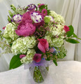 Make that someone special feel EXTRA LOVED with this gorgeous bouquet consisting of Peonies, hydrangeas, roses, mini calla lily, asters, wax flower, lisianthus, Queen Anne's lace, blue delphinium, Astilbi and greenery  ***All online orders will be AS CLOSE AS POSSIBLE to the picture shown, minor substitutions for a similar flower might be necessary if the flower is not available or out of season. You can rest assured that each order is made with intention and LOTS of LOVE with only the freshest top quality flowers!