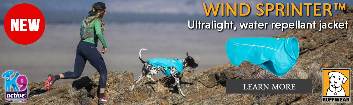 NEW Ruffwear Wind Sprinter Jacket. Ultra-light water repellant dog coat at K9active