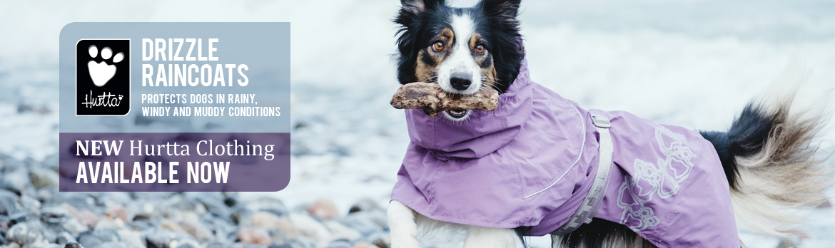 Protection from the rain with the Hutrtta Drizzle raincoat for dogs.