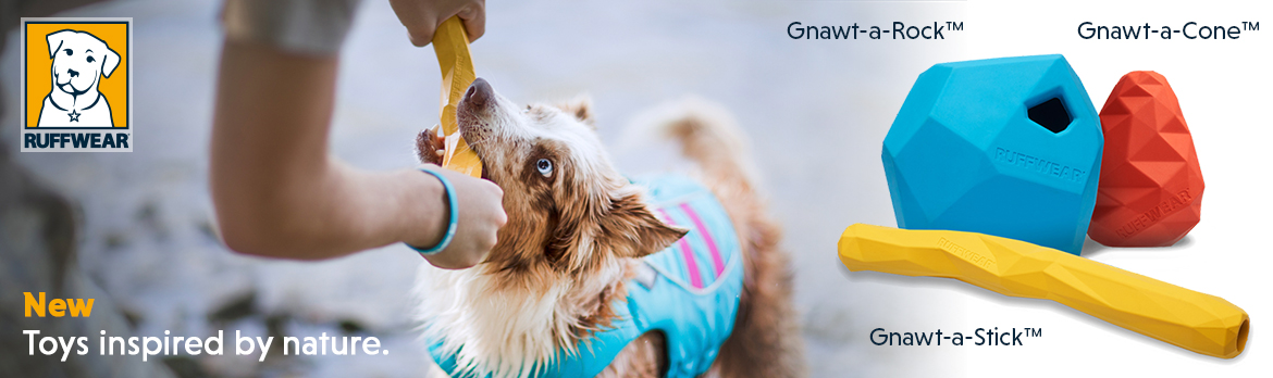 New Gnawt toys from Ruffwear inclusing Gnawt-a-Rock, Gnawt-aStick and more