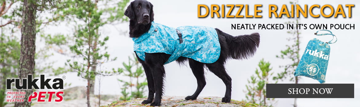 Rukka Drizzle Raincoat. Light weight stuffabel dog coat for those unexpected showers.