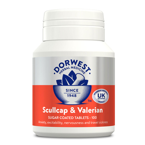 Dorwest Scullcap & Valerian 100 Tablets for dogs