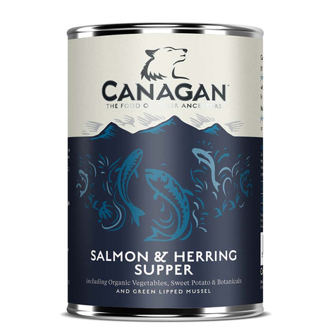 Canagan Salmon and Herring Tinned Dog Food.