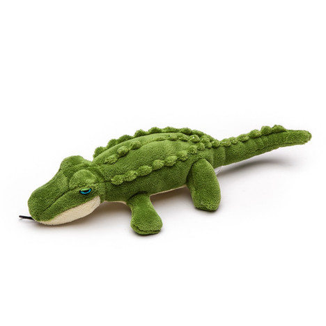 Fluff and Tuff Savanah Baby Gator Plush Dog toy. Great for ruff an tumble tug and fetch games with your dog