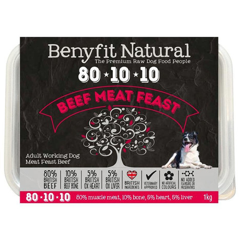 Benyfit Natural RAW 80:10:10 Beef Meat Feast dog food