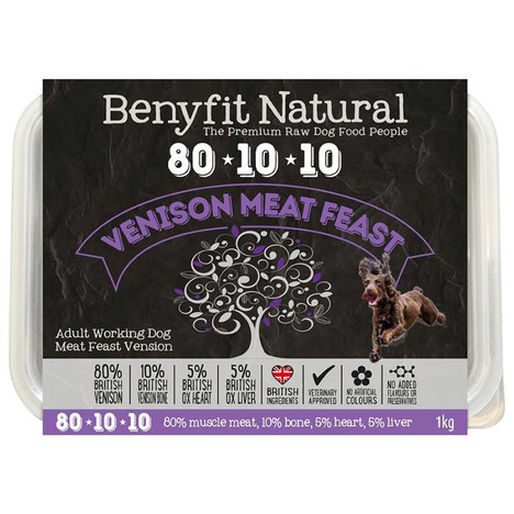 Benyfit Natural RAW 80:10:10 Venison Meat Feast dog food
