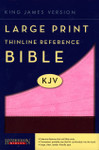KJV Giant Print Personal Size End Of Verse Reference Bible Imitation Leather Chocolate/Pink