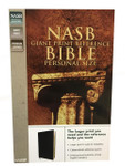 NASB Giant Print Reference Bible Personal Size Genuine Leather Black