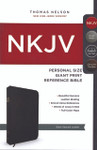 NKJV Personal Size Giant Print Reference Bible Genuine Leather Black