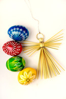 1 set of wooden Easter eggs decoration + straw Angel